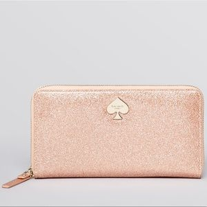 Kate Spade Pink Lacey Glitter Bug Wallet
